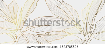 Luxury gold nature background vector. Floral pattern, Golden Tropical lant with line art style  design for wall arts, greeting card, wallpaper and print. Vector illustration.