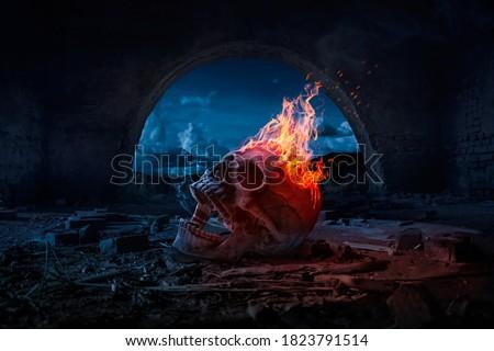 Skull burned in fire in dark Halloween night. Concept of Halloween  #1823791514