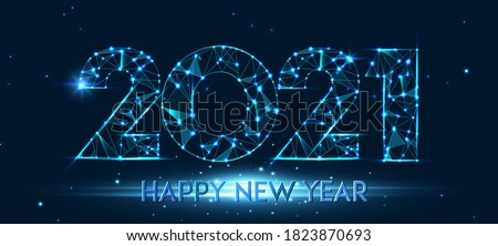 Happy new year 2021 banner design. 2021 Happy new year greeting poster. Geometric polygonal 2021 new year greeting card. Vector firecracker background. Low polygon. #1823870693
