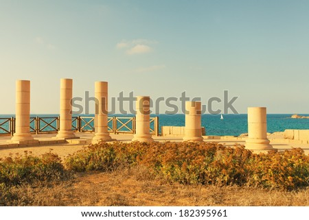 Ruins of ancient city Caesarea in Israel #182395961