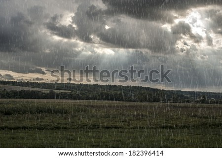 Stormy clouds and summer/spring rain