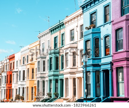 Notting Hill London, Colourful houses of Notting Hill in London Royalty-Free Stock Photo #1823966261
