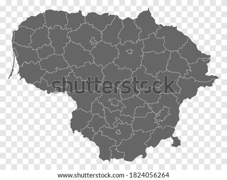 Blank map of Lithuania. Departments  and Districts of Lithuania map. High detailed gray vector map of Republic of Lithuania on transparent background for your design. EPS10.   Royalty-Free Stock Photo #1824056264