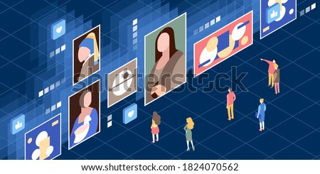 This illustration depict a modern art museum in which all exhibit demonstrated at digitally displayed Royalty-Free Stock Photo #1824070562