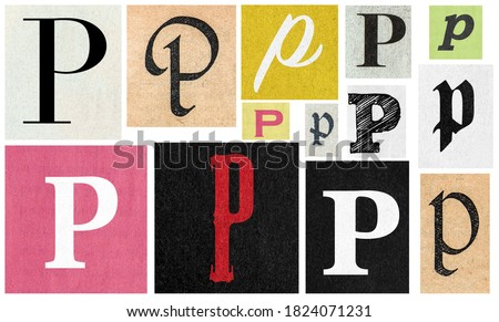 Paper cut letter p. Newspaper cutouts for scrapbooking and crafting Royalty-Free Stock Photo #1824071231