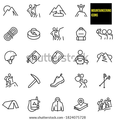 Mountaineering Thin Line Icons -  stock illustration. A mountain, ice climber, mountain climber, avalanche, rope, compass, backpack, mountaineer, people taking selfie, climbing helmet, safety gear.
