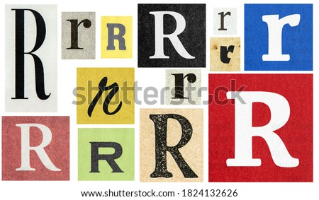 Paper cut letter R. Newspaper cutouts for scrapbooking and crafting Royalty-Free Stock Photo #1824132626