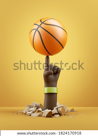 3d render, african cartoon character dark skin tone hand spins ball on a finger, isolated on yellow background. Basketball player amazing skill. Sport clip art