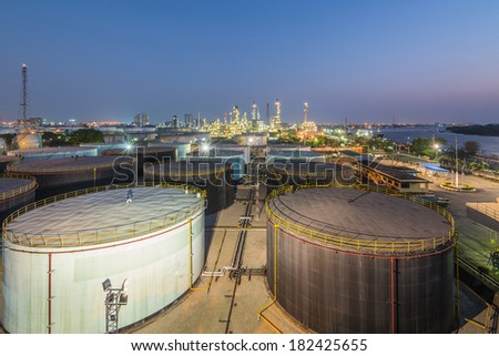 Landscape of oil refinery industry with oil storage tank #182425655