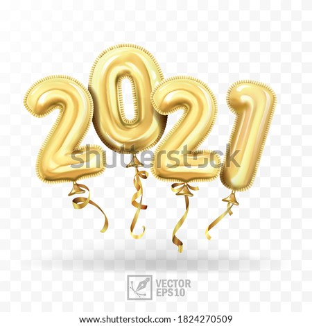 3d realistic isolated vector with gold gel balls as numbers two thousand and twenty one, 2021, New Year's balloons to decorate your design, Christmas, New Year, advertising