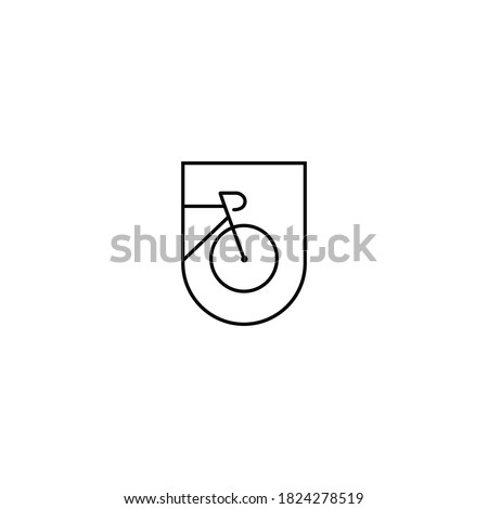Bicycle road bike logo. Minimal icon of bicycle. Vector simple emblem, badge for a cycling club, bike store, also good to use for t shirt print design
