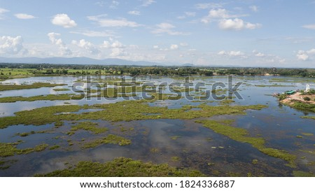 Aerial photo View from the top of a large swamp