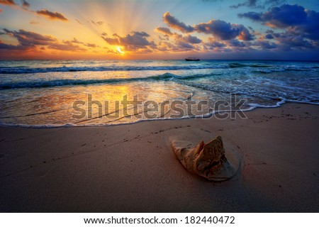 Peaceful sunrise with god rays over pristine sandy beach with a sand sculpture in the foreground #182440472