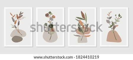 Botanical wall art vector set. boho Foliage line art drawing with  abstract shape.  Abstract Plant Art design for print, cover, wallpaper, Minimal and  natural wall art. #1824410219