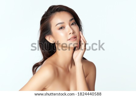 Beautiful young asian woman with clean fresh skin on white background, Face care, Facial treatment, Cosmetology, beauty and spa, Asian women portrait #1824440588