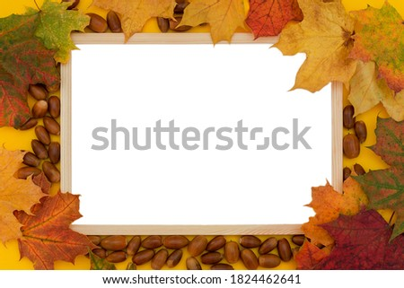 close-up, top view, wooden frame surrounded by autumn leaves and acorns. Concept - advertising space, place for text or photo, layout, template for design.