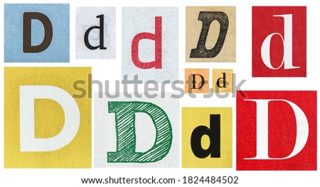 Paper cut letter D. Old newspaper magazine cutouts for scrapbook crafting Royalty-Free Stock Photo #1824484502