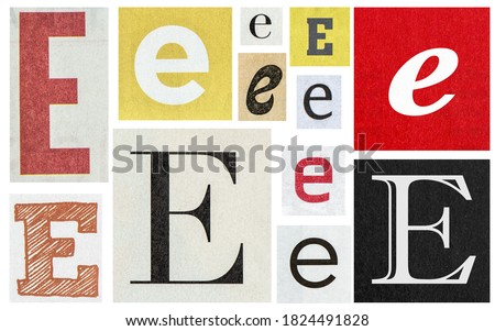 Paper cut letter E. Old newspaper magazine cutouts for creative scrapbooking and crafting