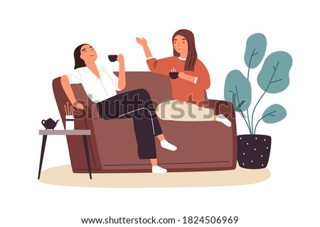 Smiling woman friends drinking tea at home vector flat illustration. Happy female laughing and gossiping sit on comfortable couch isolated. People spending time together having friendly conversation #1824506969