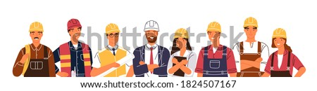 Team of builders and industrial workers standing together vector flat illustration. Portrait of smiling colleagues in uniform and hard hats isolated. Man and woman industry or construction employees Royalty-Free Stock Photo #1824507167