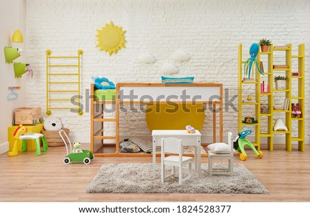 Modern wooden baby room, child, decorative stairs and bunk, table and child style. Toy, white brick wall sun and cloud accessory interior.