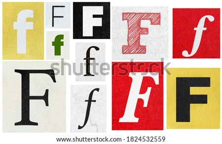 Paper cut letter F collage. Newspaper cutouts. Creative scrapbooking and crafting Royalty-Free Stock Photo #1824532559