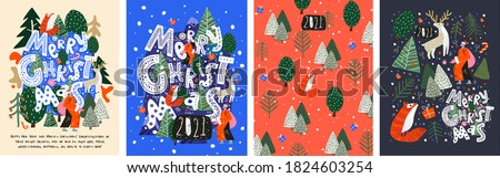 Merry Christmas and Happy New Year! 2021! Vector trendy abstract illustrations of holiday card with forest, santa claus, fox, deer, lettering, christmas tree and pine. Drawing for poster or pattern. #1824603254