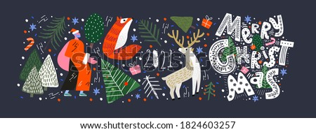 Merry Christmas and Happy New Year! 2021! Vector trendy abstract illustrations and objects: forest, santa claus, fox, deer, lettering, christmas tree and pine. Drawings for poster and postcard #1824603257