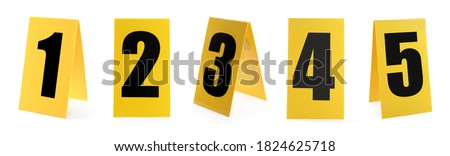 Crime scene investigation. Set of evidence identification markers on white background Royalty-Free Stock Photo #1824625718