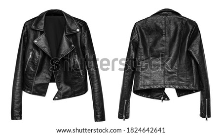 Woman black leather jacket isolated on white background Royalty-Free Stock Photo #1824642641