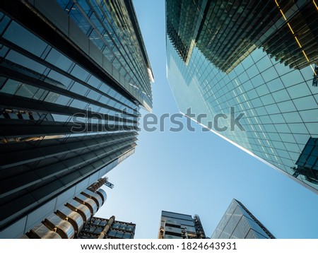 UK, London, modern high rise financial skyscraper buildings in the city against clear sky. Discussions on going about how the UK and EU will work together post Brexit with regards to financial service Royalty-Free Stock Photo #1824643931