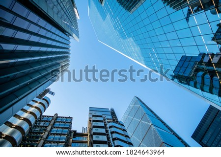UK, London, modern high rise financial skyscraper buildings in the city against clear sky. Discussions on going about how the UK and EU will work together post Brexit with regards to financial service Royalty-Free Stock Photo #1824643964