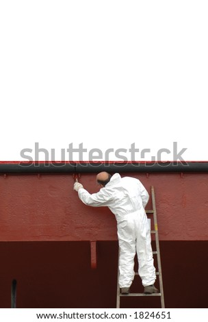 Painter with message space above