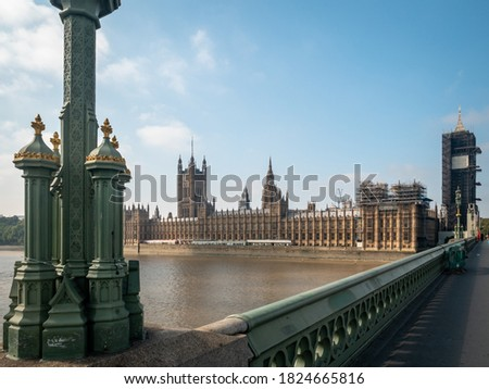London, United Kingdom - 21st Sept 2020: The Elizabeth Tower, better known as Big Ben, is pictured during restoration works at the Houses of Parliament in central London.