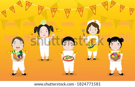 """Vector illustration with boys and girls in vegetarian festival, on yellow background. And Chinese and Thai language flags that mean """"vegetarian"""". Royalty-Free Stock Photo #1824771581"""