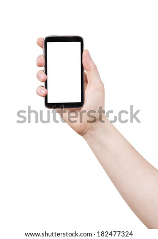 isolated woman hand holding the phone tablet touch computer gadget #182477324