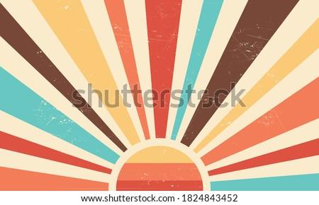Vintage sun retro banner background. Colourful grunge sunburst. Vector illustration.