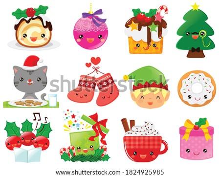 Christmas cartoons clip art set. Cute kawaii cartoon characters of the holiday symbols – Christmas tree, presents, decorations, cakes and Santa's elf.
