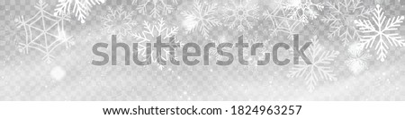 Vector heavy snowfall, snowflakes in different shapes and forms. Snow flakes, snow background. Falling Christmas. #1824963257