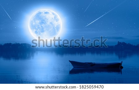 "Calm water of blue lake with full moon and boat, falling stars in the background""Elements of this image furnished by NASA"""