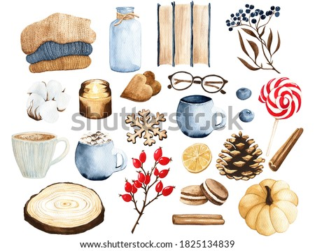 Watercolor clip art. Set of cozy elements. Autumn, fall and winter illustration