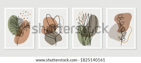Botanical wall art vector set. Earth tone boho foliage line art drawing with  abstract shape.  Abstract Plant Art design for print, cover, wallpaper, Minimal and  natural wall art.  #1825140161