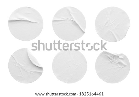Blank white round paper sticker label set collection isolated on white background with clipping path #1825164461