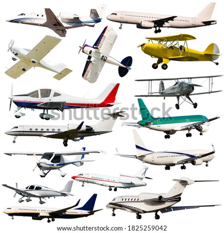 Collection of civil passenger aircrafts isolated on white background.. #1825259042
