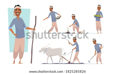 Indian farmer. India village cheering characters working with cow harvesting bangladesh people vector Royalty-Free Stock Photo #1825285826