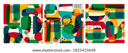 Hand drawn various Abstract shapes and doodle objects. Contemporary modern trendy Vector illustrations. Set of three square Seamless Patterns. Textile or paper print template Royalty-Free Stock Photo #1825433648