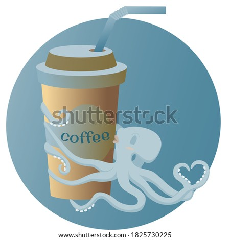 Cute octopus hugs and kisses a glass with coffee.Concept of love for coffee. Trend colors.Unique creative illustration isolated on white background for website,advertising,postcards.