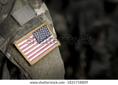 Veterans Day. Memorial day. US soldier. US Army. The United States Armed Forces. Military forces of the United States of America. Remembrance Day. Empty space for text Royalty-Free Stock Photo #1825758809