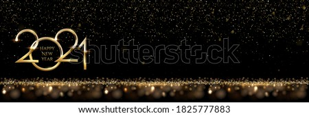 2021 Happy New Year horizontal banner vector template. Winter holiday, christmas congratulations. Festive postcard, luxurious greeting card concept. Numbers with golden glitter and text space #1825777883