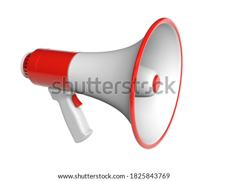 Red megaphone. isolated on white background with clipping path. 3d render.